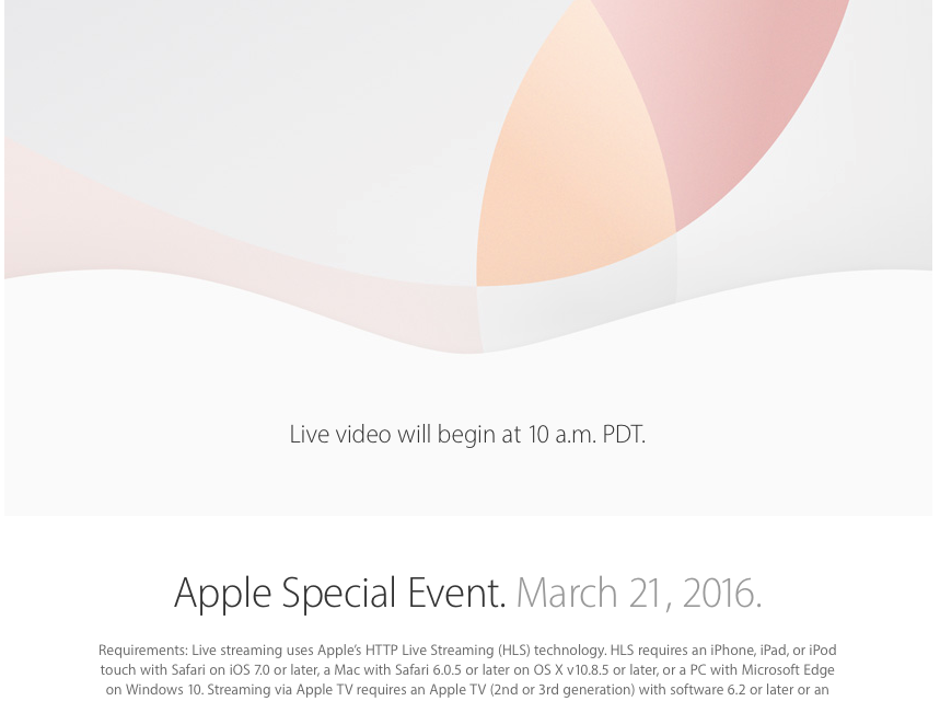 Konferencja Apple 21.03.2016