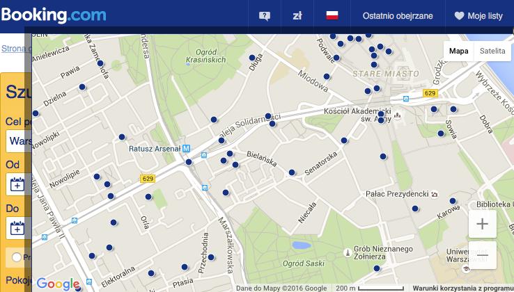 booking - mapa